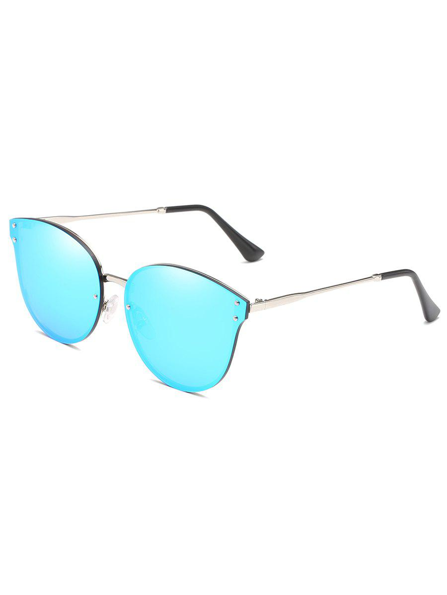 Anti Fatigue Metal Frame Flat Lens Catty Sunglasses - BUTTERFLY BLUE