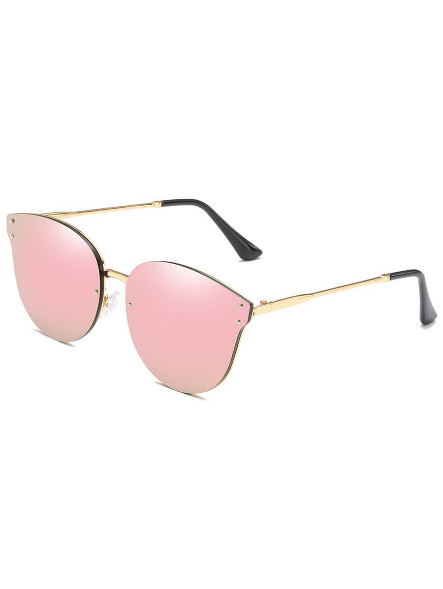 Anti Fatigue Metal Frame Flat Lens Catty Sunglasses - PINK
