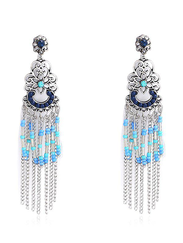 Bohemia Hollow Out Beaded Fringed Drop Earrings tear drop beaded hollow out rhinestone earrings