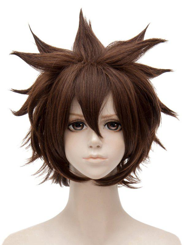 Short Side Bang Tail Outside Straight Synthetic Anime Aotu World Anmicius Cosplay Wig - COFFEE