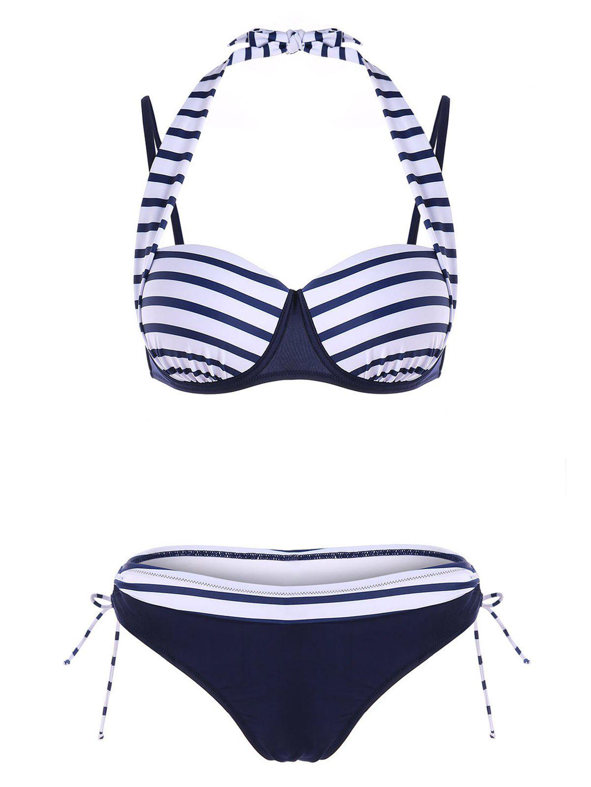 Tie Side Underwire Bikini Set - NAVY BLUE L
