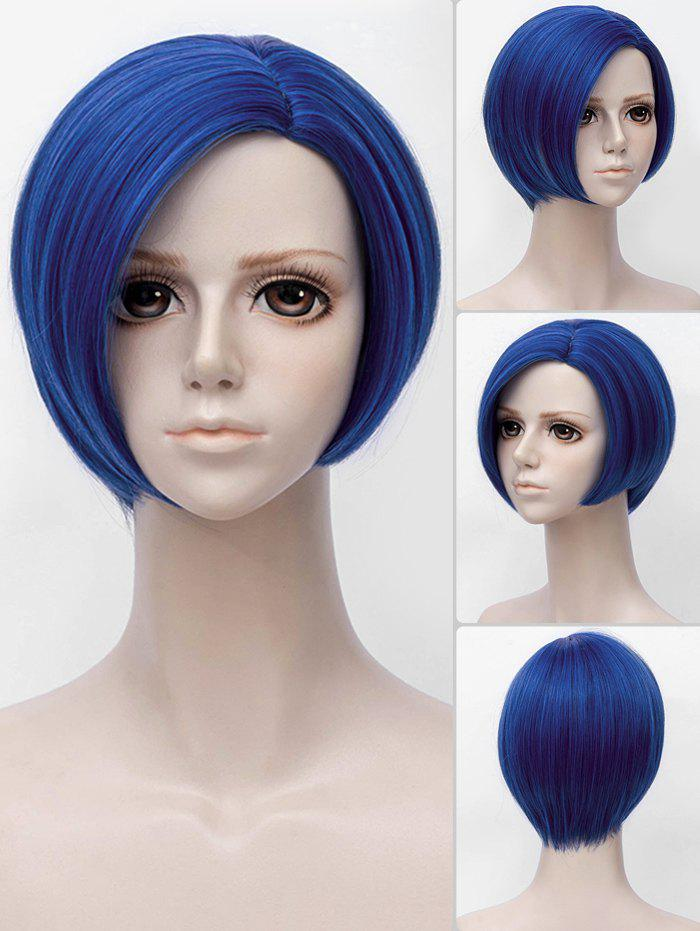 Short Side Parting Straight Bob Land of the Lustrous Anime Benitoite Cosplay Synthetic Wig - DENIM DARK BLUE