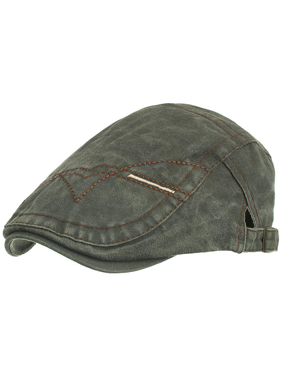 Line Embroidery Washed Dyed Newsboy Cap sewing thread tartan newsboy cap with embroidery