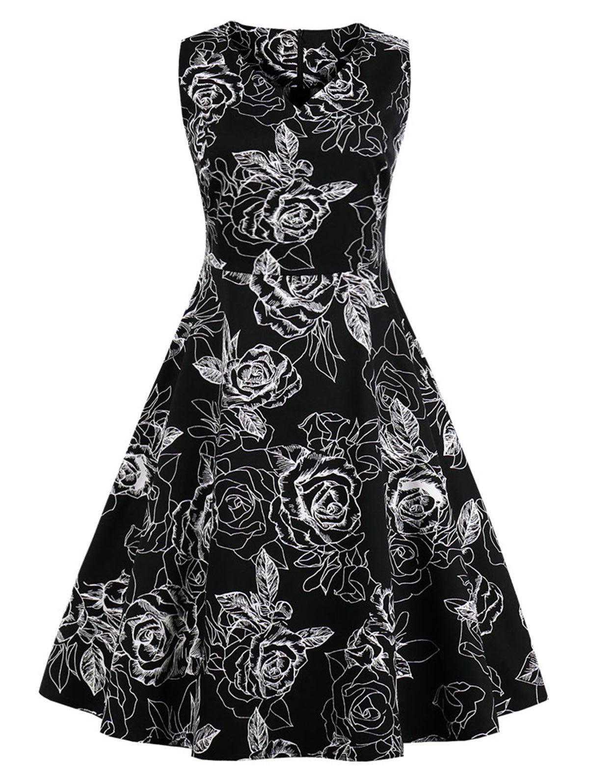 Plus Size Sleeveless Flower Dress - BLACK 4X