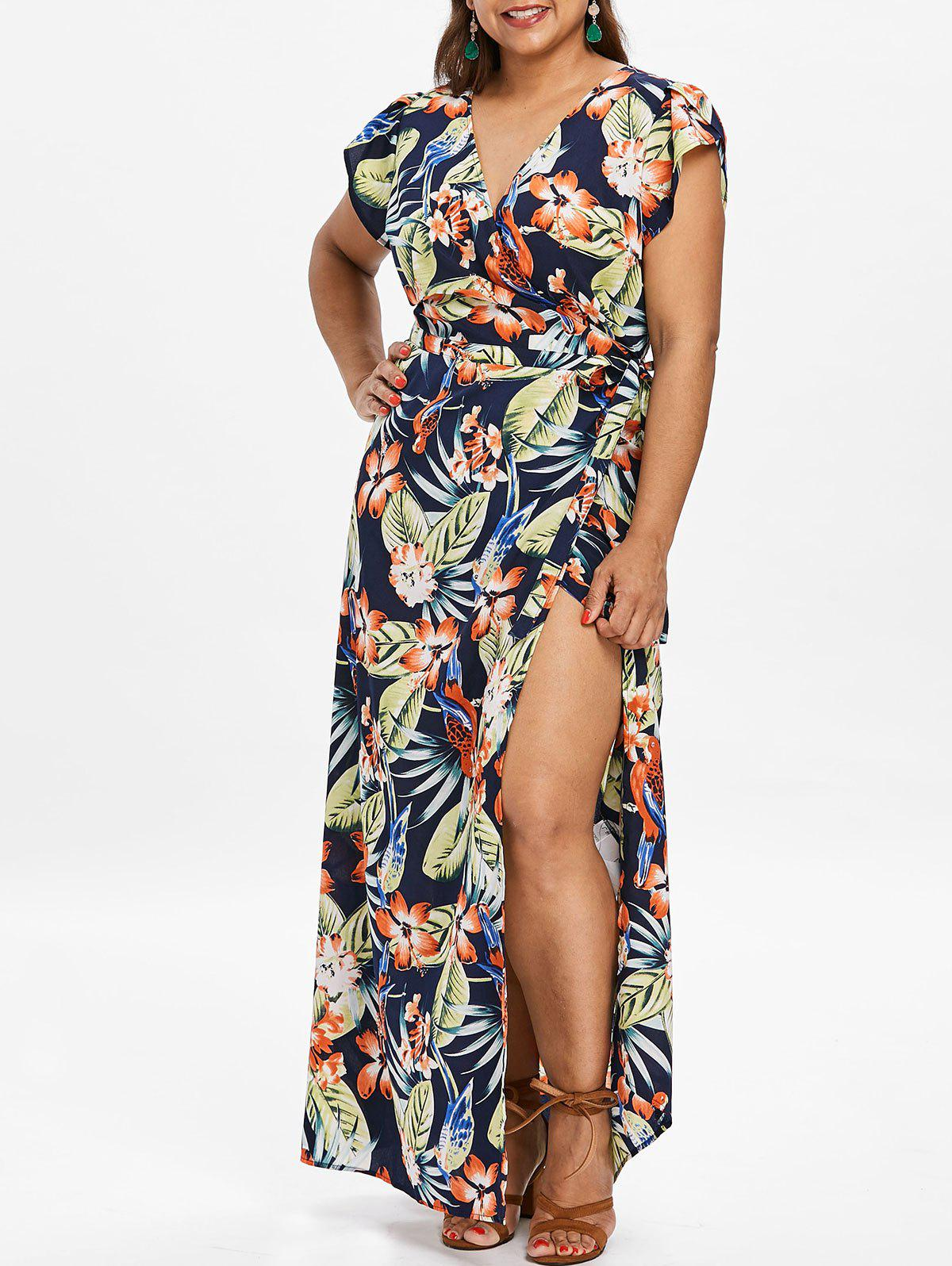 Plus Size Tropical Print Maxi Wrap Dress - DEEP BLUE 2X