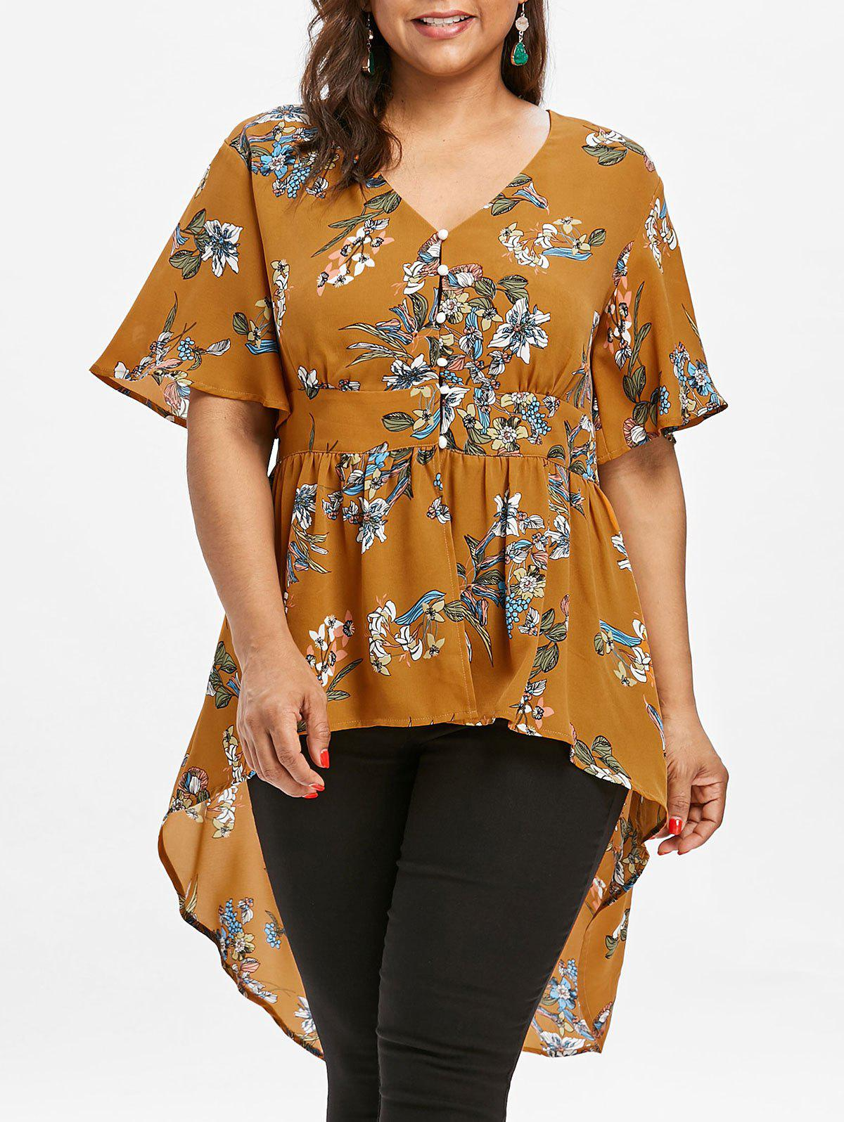 Plus Size Floral Dip Hem Blouse - BEE YELLOW 4X