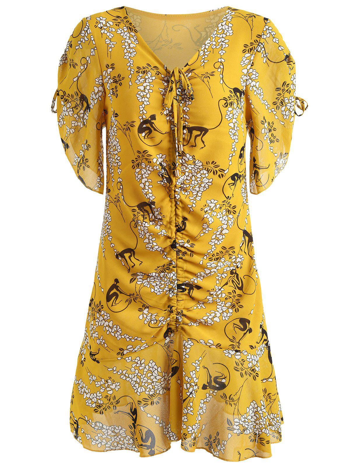 V-neck Ruched Print Dress - SCHOOL BUS YELLOW XL