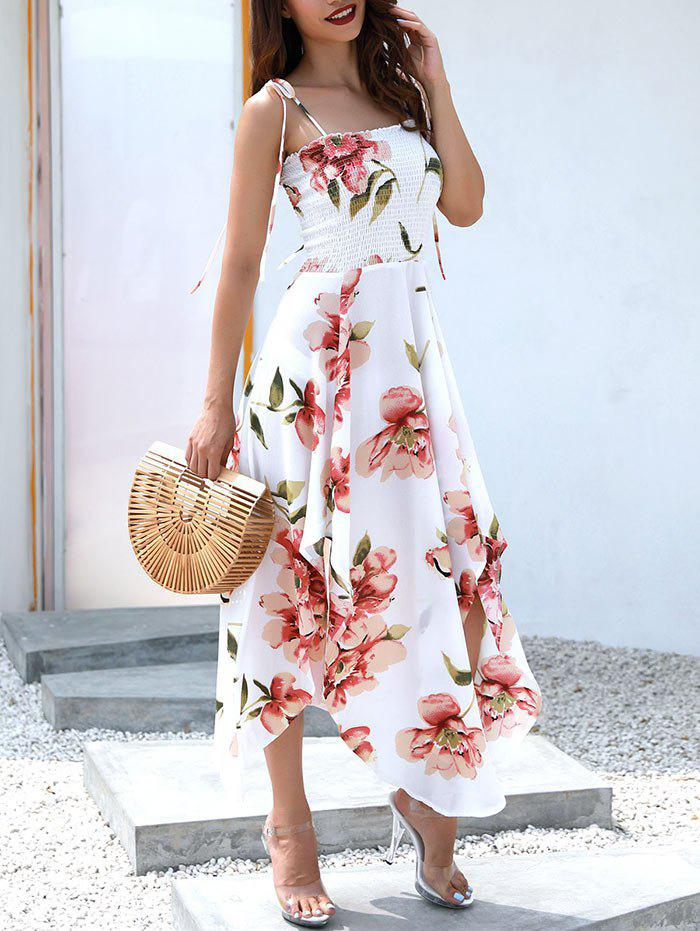 Flowy Floral Print Asymmetrical Dress - WHITE S