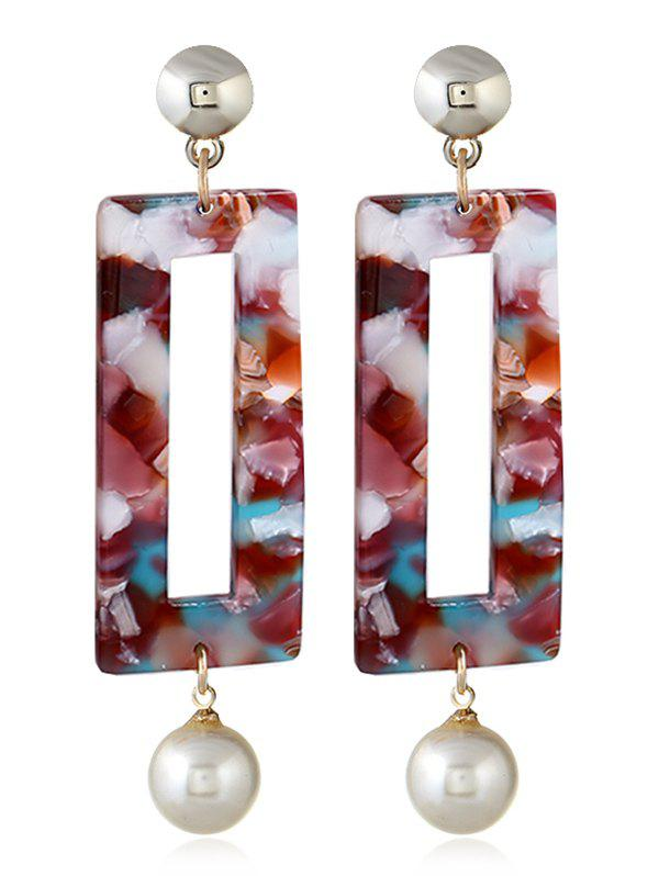 Artificial Pearl Acrylic Geometric Drop Earrings