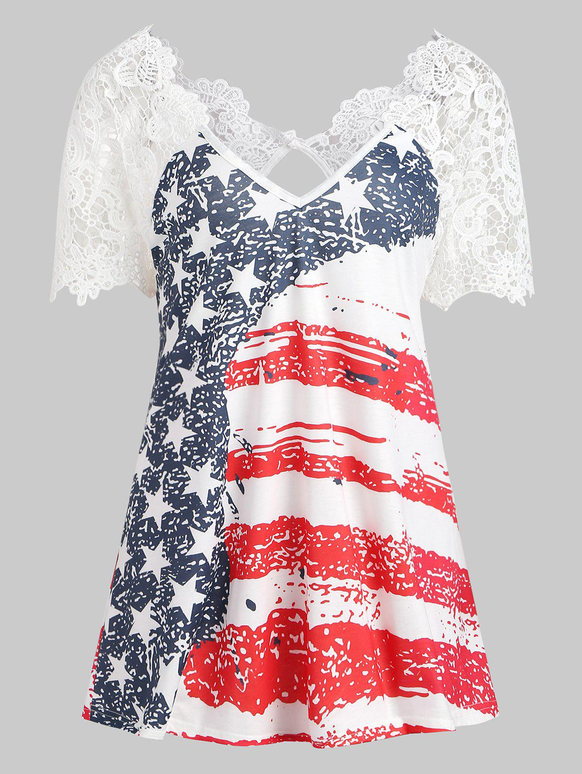 Back Cut Out American Flag T-shirt - multicolor 2XL