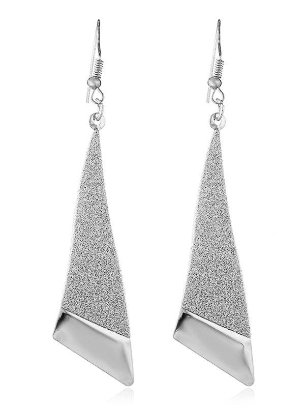 Two Tone Metal Triangle Drop Earrings metal hand design drop earrings