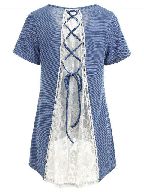 Lace Panel Striped High Low T-shirt - BLUE S