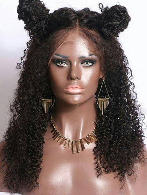 Long Middle Part Curly Lace Front Synthetic Fiber Wig - BLACK
