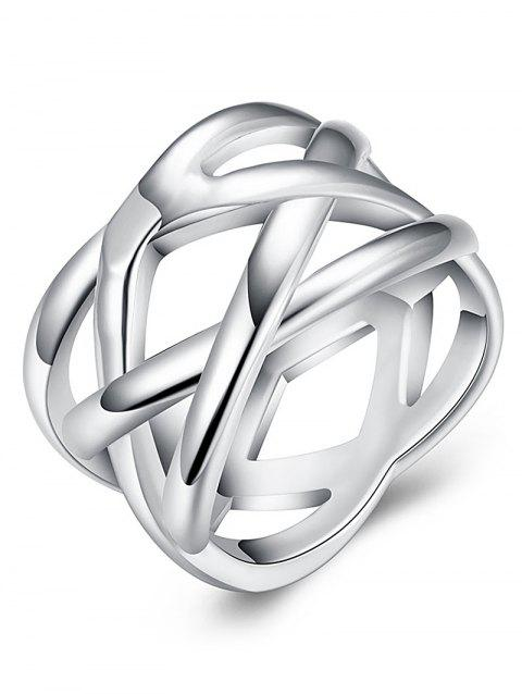 Simple Alloy Geometric Finger Ring - SILVER 8
