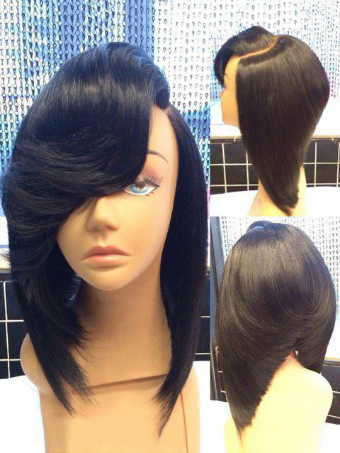 Medium Side Fringe Straight Inverted Bob Synthetic Wig - BLACK
