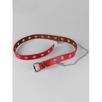 Punk Faux Leather Metal Chains Waist Belt - RED