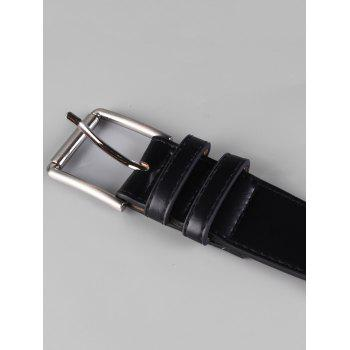 Metal Buckle Faux Leather High Waist Belt - BLACK