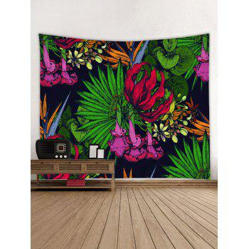 Tropical Leaf Flowers Print Tapestry Wall Art - multicolor W91 INCH * L71 INCH