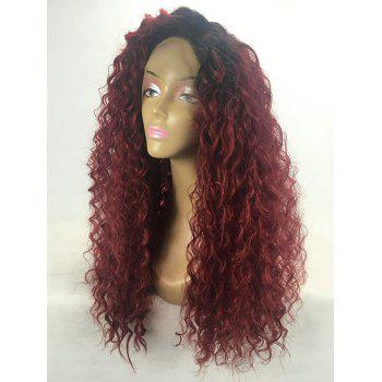 Long Side Bang Ombre Curly Wave Synthetic Lace Front Wig - multicolor