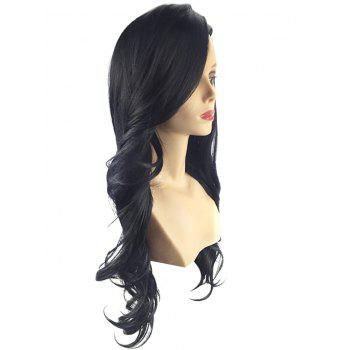 Long Side Parting Party Wavy Synthetic Wig - BLACK