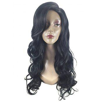Long Wavy Party Synthetic Wig with Side Parting - BLACK