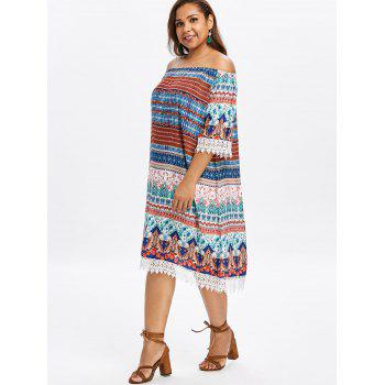 Plus Size Flower Crochet Trim Dress - multicolor 3X