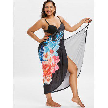 Printed Plus Size Long Wrap Cover-up Dress - BLACK 3X