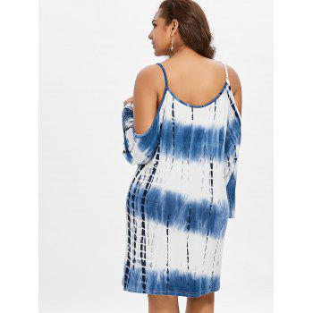 Plus Size Open Shoulder Tunic Dress - BLUE 1X