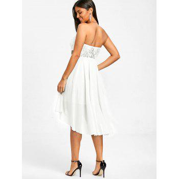 Sequined Waist Chiffon Bandeau Dress - WHITE L