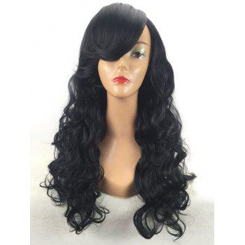 Long Inclined Bang Body Wave Synthetic Wig - BLACK