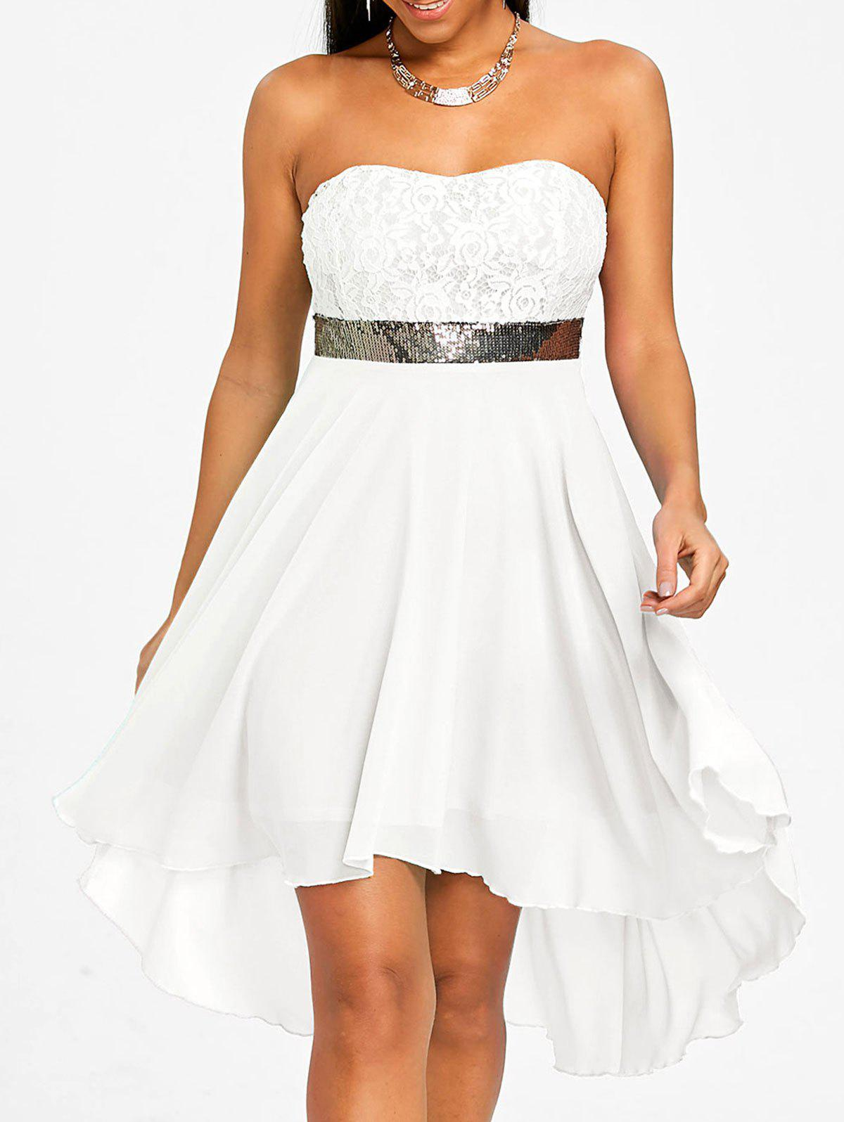 Sequined Waist Chiffon Bandeau Dress