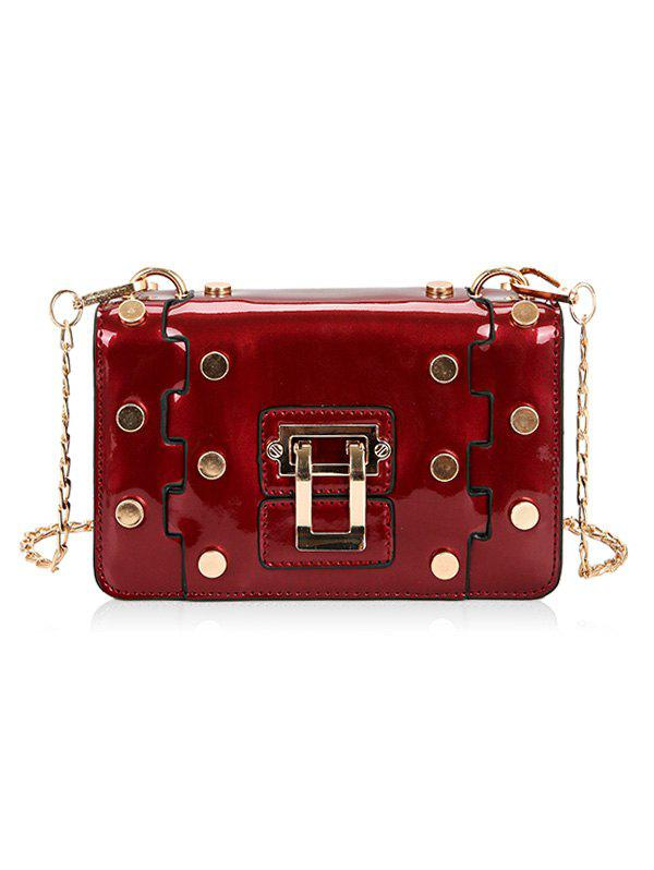 Retro Studs Vacation Crossbody Bag - LOVE RED