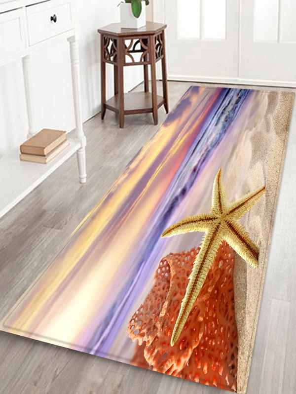 Beach Starfish Sunrise Print Non-skip Floor Area Rug sand shell starfish pattern floor area rug