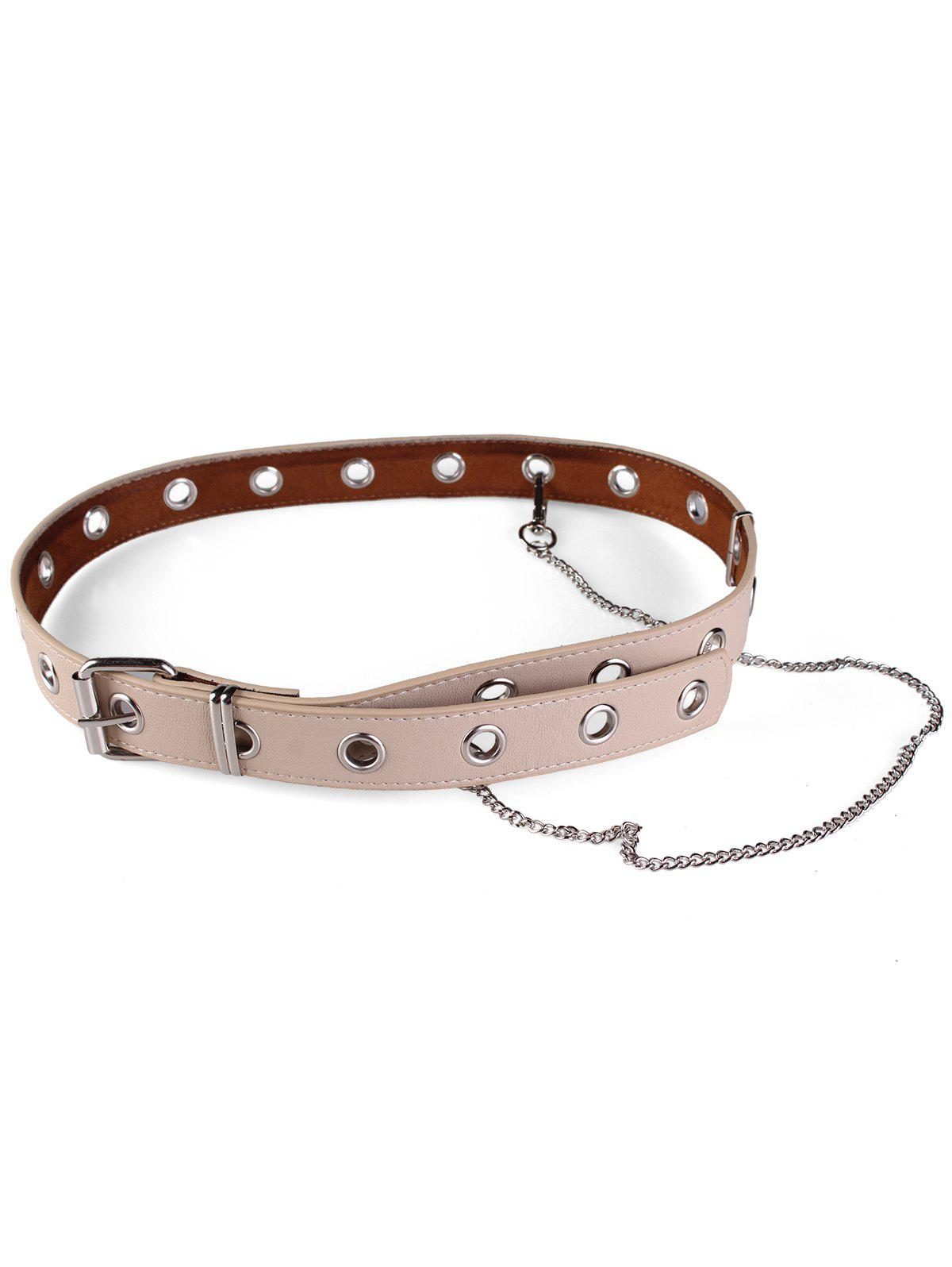 Punk Faux Leather Metal Chains Waist Belt - LIGHT KHAKI