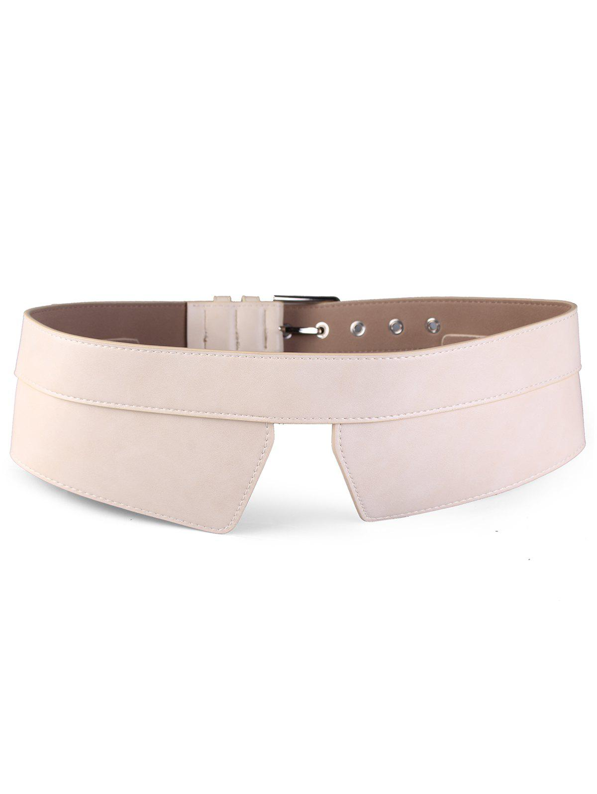 Metal Buckle Faux Leather High Waist Belt - APRICOT