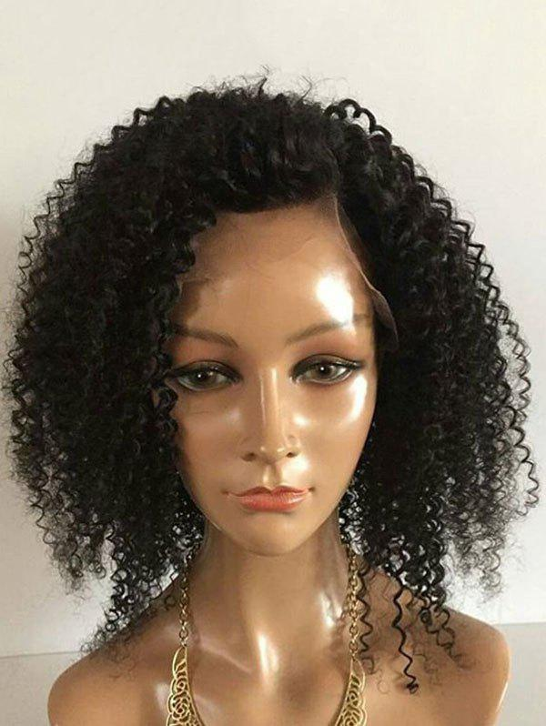 Medium Inclined Bang Fluffy Kinky Curly Lace Front Synthetic Wig - BLACK