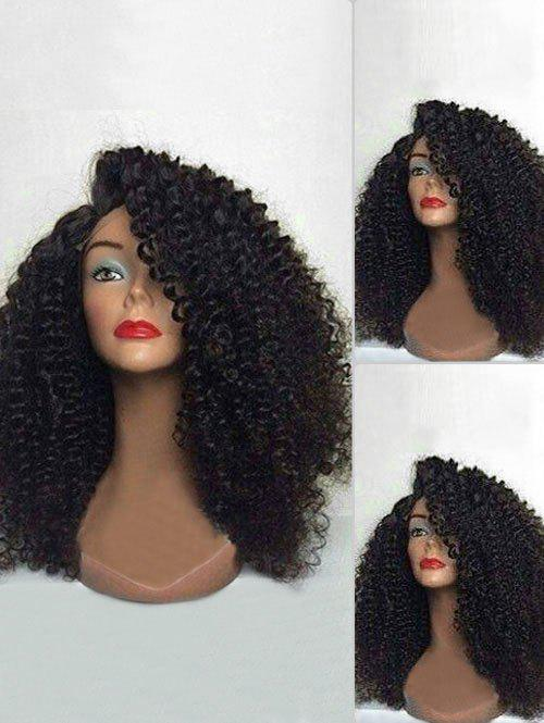 Long Oblique Bang Fluffy Curly Lace Front Synthetic Wig long curly green synthetic lace front cosplay party wig