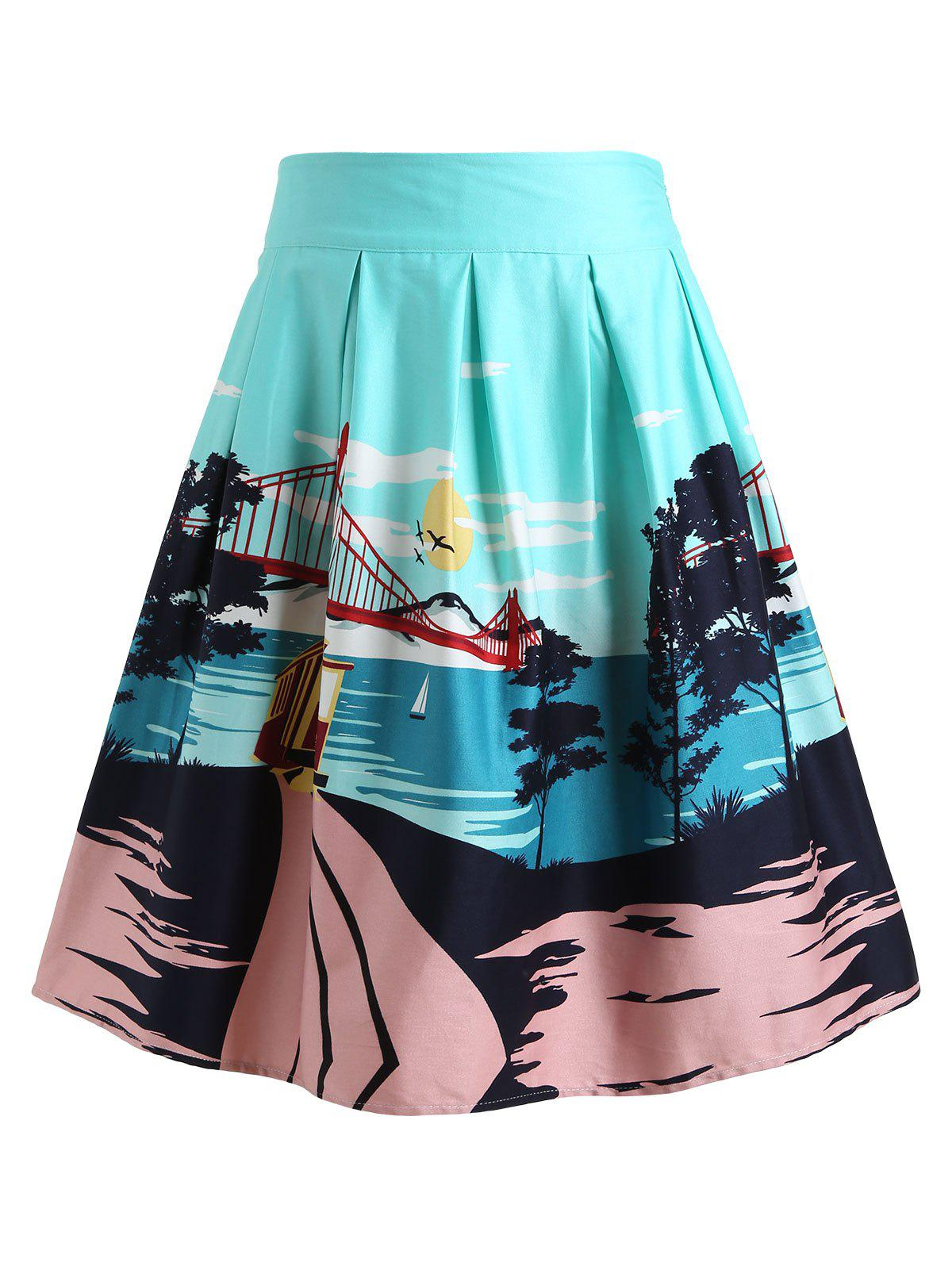 Scenery Print Skirt - ELECTRIC BLUE XL