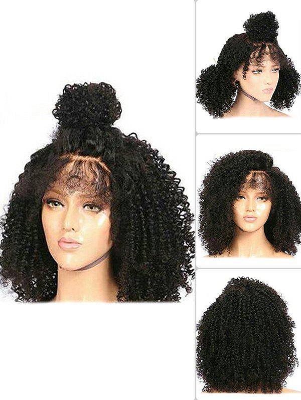 Medium Free Part Fluffy Curly Synthetic Lace Front Wig - BLACK