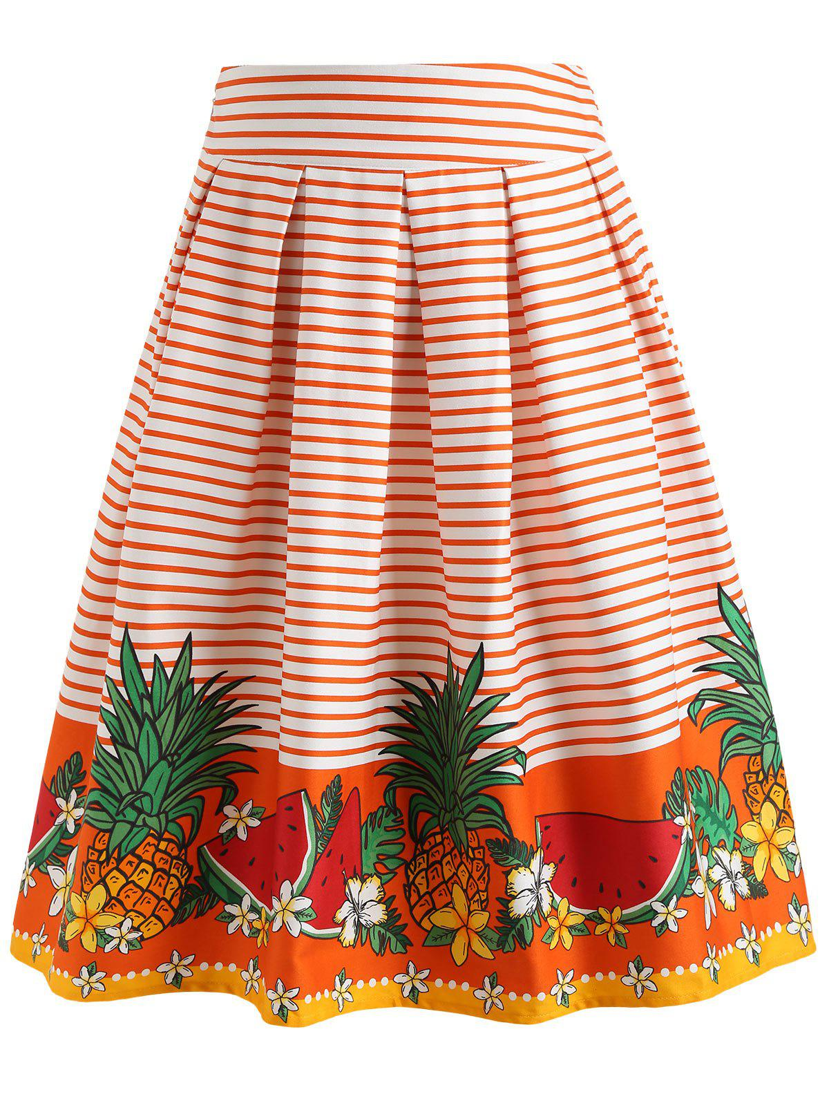 Striped Pineapple A Line Skirt - ORANGE M