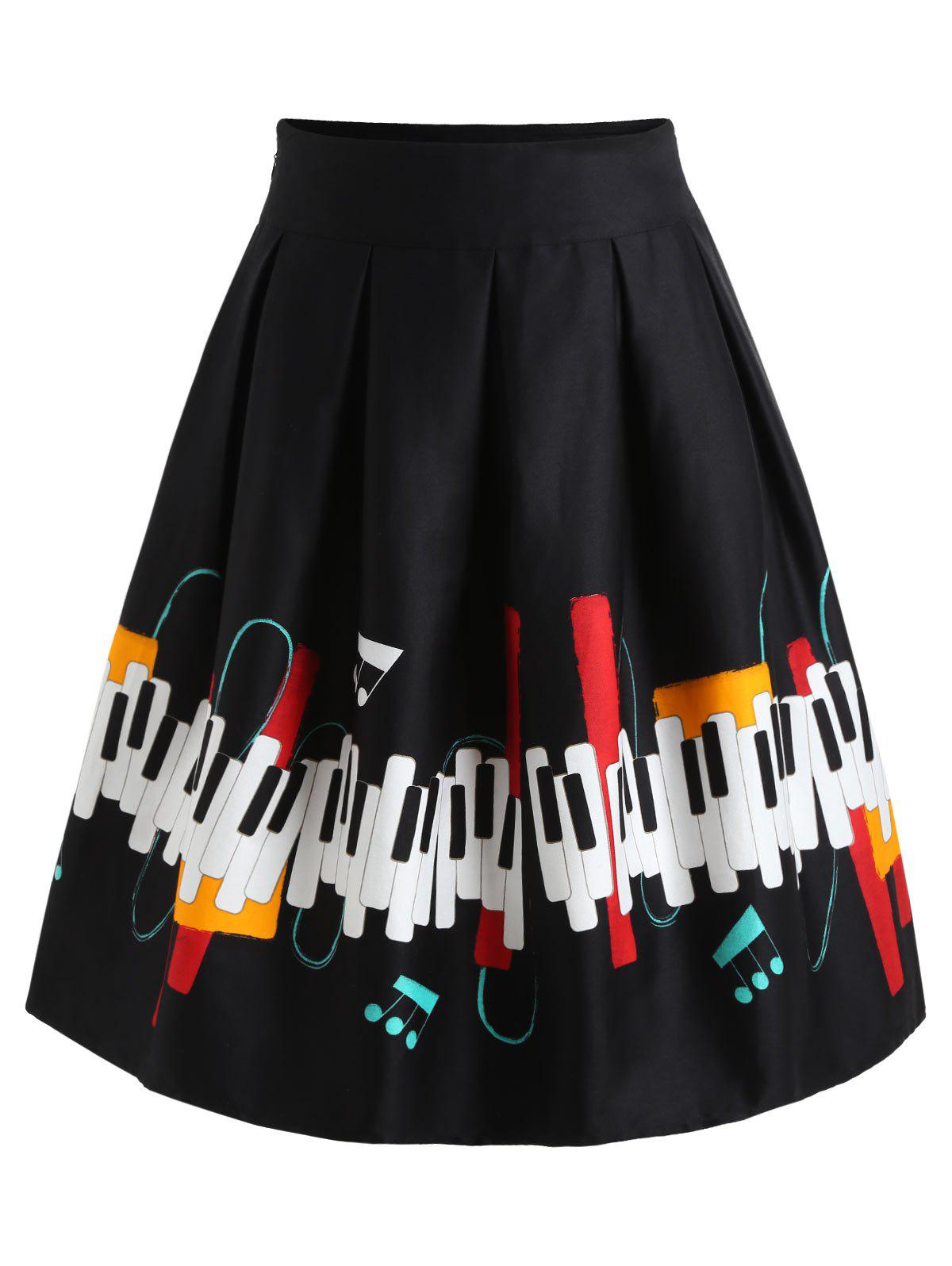 Piano Print Swing Skirt - BLACK M