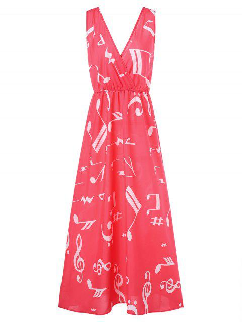 Plunging Neckline Musical Notes Maxi Dress - RED L