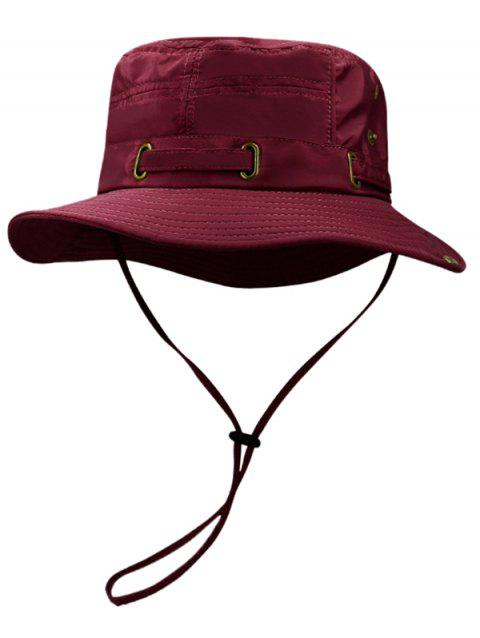 Soft Line Embroidery Breathable Bucket Hat - FIREBRICK