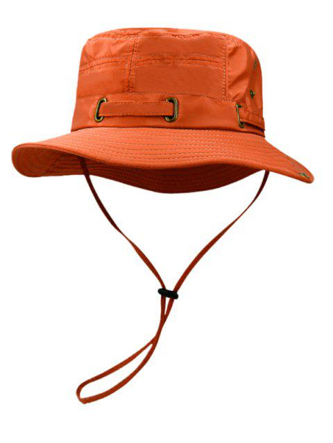 Soft Line Embroidery Breathable Bucket Hat - PAPAYA ORANGE