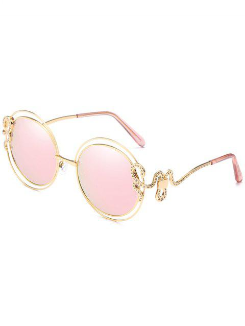 Unique Double Metal Frame Rhinestone Inlaid Sunglasses - PIG PINK