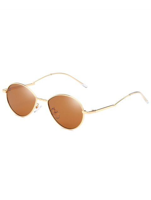 UV Protection Metal Full Frame Bent Legs Sunglasses - LIGHT BROWN