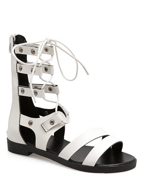 Lace Up Cross Flat Heel Gladiator Shoes - WHITE 38