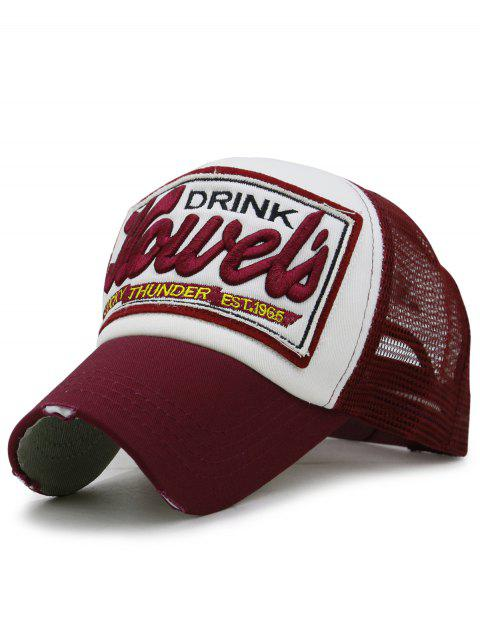 Unique Letter Embroidery Mesh Sunscreen Hat - RED WINE