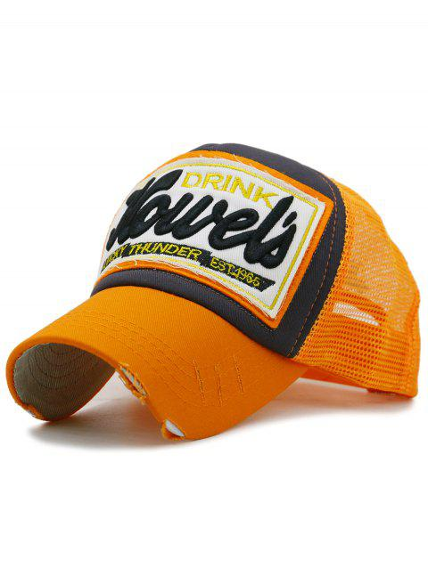 Unique Letter Embroidery Mesh Sunscreen Hat - PUMPKIN ORANGE