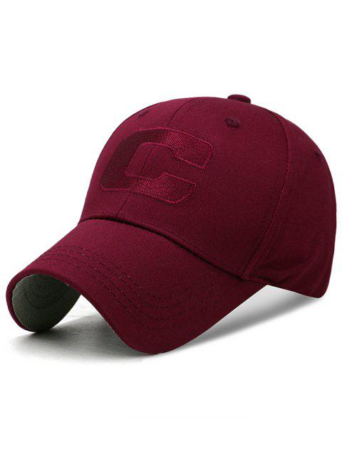 Letter C Embroidery Adjustable Snapback Hat - RED WINE